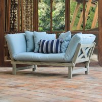 Westlake Solid Wood Outdoor Convertible Sofa Daybed, Weathered Gray/Blue Spruce
