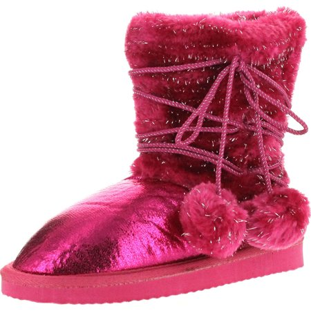 static girls fashion 6.5 metallic winter pom pom strap boots""