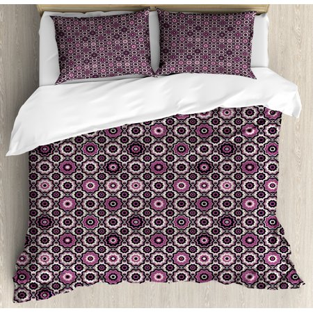 Purple Duvet Cover Set, Alluring Flowering Nature Circular Geometric Pattern of Floral Composition, Decorative Bedding Set with Pillow Shams, Violet Beige Black, by Ambesonne