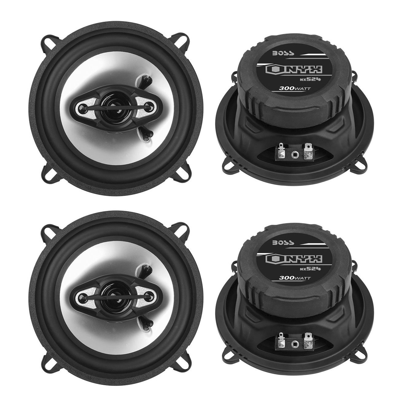 "BOSS NX524 5.25"" 300W 4-Way Car Coaxial Speakers Stereo Black 4 Ohm (4 Pack)"