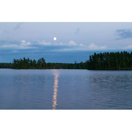 Moon rising over Lake One water reflection Boundary Waters Canoe Area Wilderness Minnesota USA Poster Print (8 x
