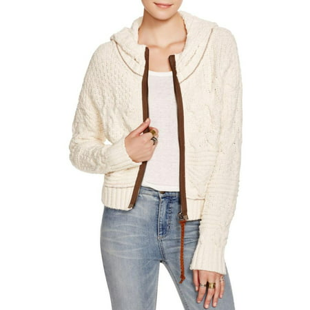 Free People Free People Womens Cable Knit Zip Front Hooded Sweater
