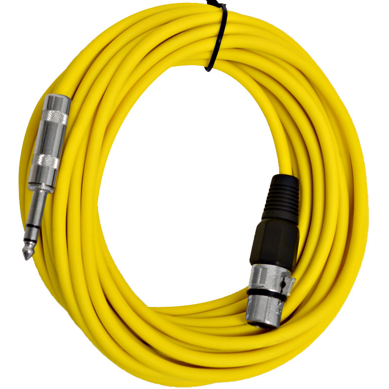 "Seismic Audio  - 25 Ft Yellow XLR Female to 1/4"" TRS Patch Cable Snake Cords Yellow - SATRXL-F25Yellow"