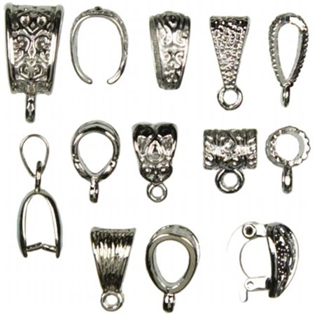 151562 Jewelry Basics Metal Findings 13-Pkg-Silver Mixed Bail Pack