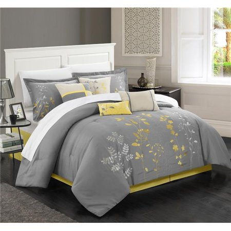Chic Home 21CQ111-US 8 Piece Prom Comforter Set - Yellow - Queen - Decorations For Prom