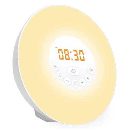 Wake Up Light with Sunrise Simulation, Fading Night Light, Colors, Alarm Clock, FM Radio, White Noise and Nature Sounds ()