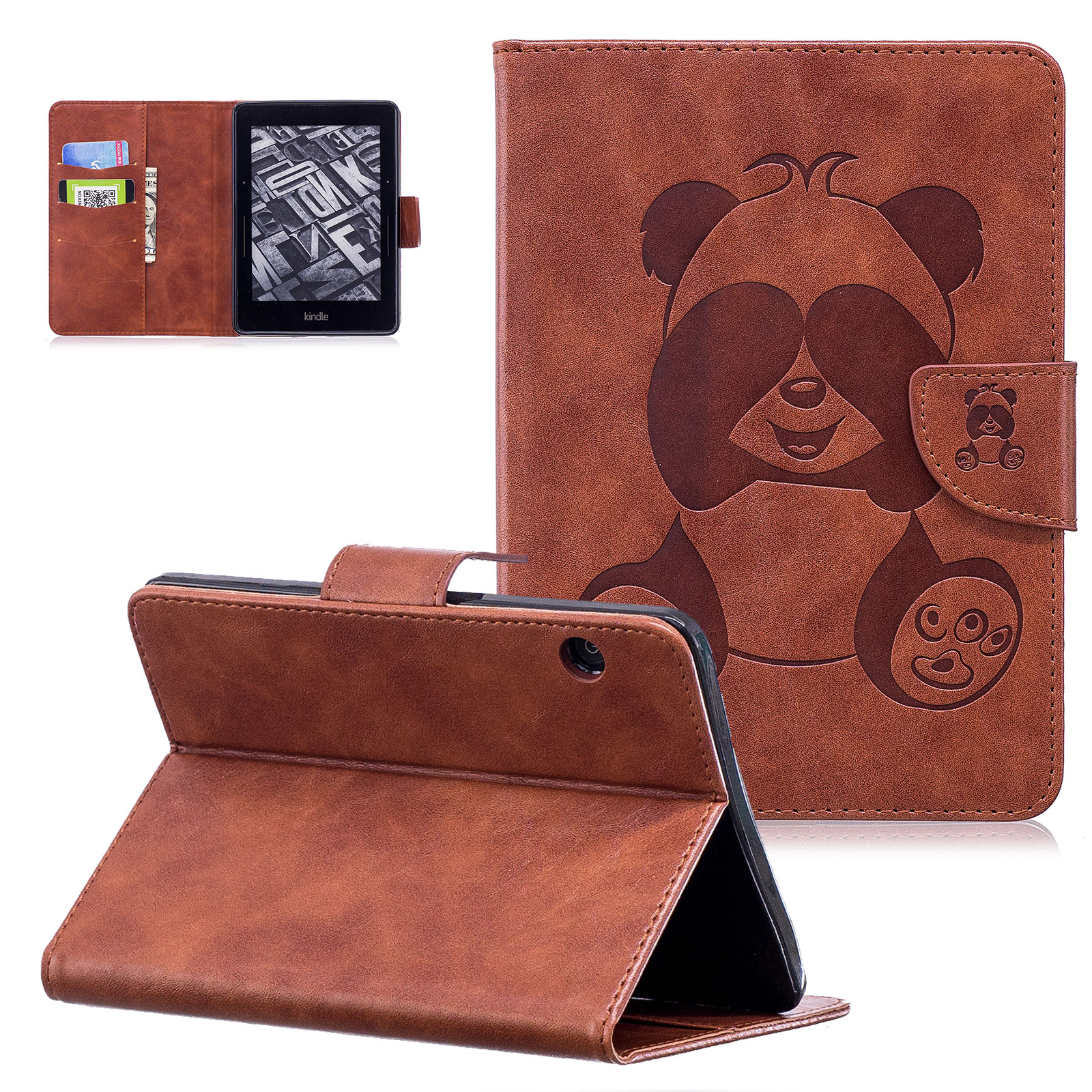 Kindle Voyage Case, Kindle Voyage Wallet Case, Goodest [Panda Series] Slim PU Leather Magnetic Flip Stand Case Cover Book Style Kids Protective Cover for Amazon Kindle Voyage 2014 Release, Brown