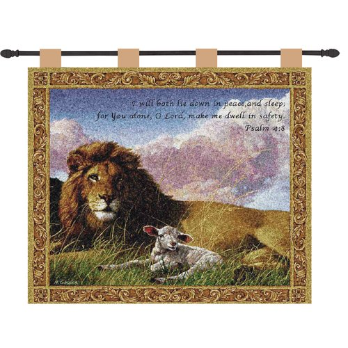 Manual Woodworkers & Weavers Lion and Lamb Verse Wall Hanging