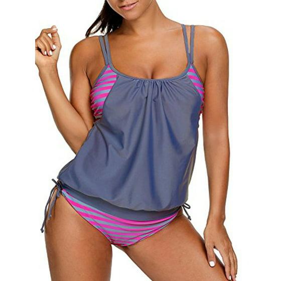 c19f78998293e SAYFUT - SAFUT Women's Tankini Swimsuit Sets Stripes Lined Up Double ...