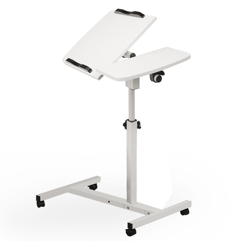 Turnlift Sit-stand Mobile Laptop Desk Cart with Side Tabl...