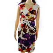 NEW Lauren Ralph Lauren Beige Pink Size 6P Petite Floral Sheath Dress