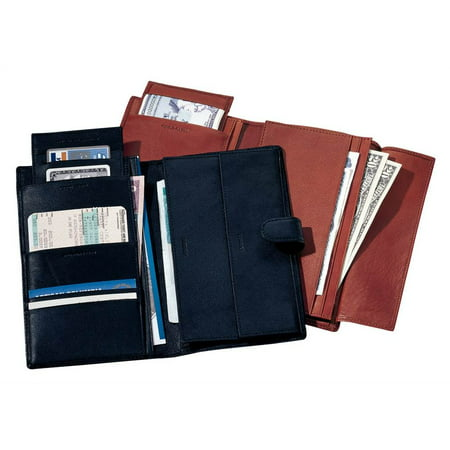 17bf7b4d851f Deluxe Leather Travel Wallet w Passport Pocket & Currency Slots (Blue)