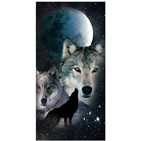 - Full Moon Night Wolf 30x60 Cotton Velour Beach Towel