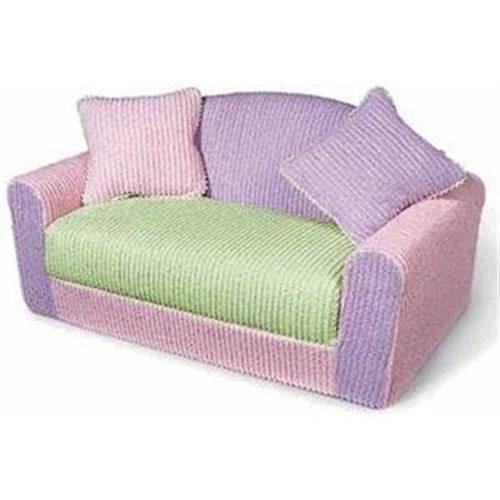 Kid's Chenille Sofa Sleeper with Pillows-Color:Brown