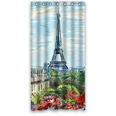 GreenDecor Paris Eiffel Tower Best Ed Waterproof Shower Curtain Set with Hooks Bathroom Accessories Size 36x72