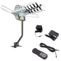 Zimtown TV Antenna Amplified Long Range Outdoor HD Digital Rotating with RC + Pole