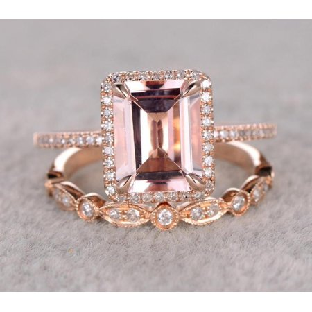 Perfect Halo Bridal Set on Sale 1.50 carat emerald Cut Morganite and Diamond Bridal Set in Rose Gold: Bestselling Design - image 2 de 2