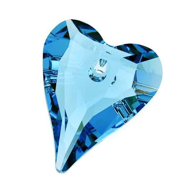Swarovski Crystal, #6240 Wild Heart Pendant 37mm, 1 Piece, Aquamarine