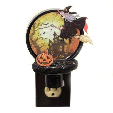 Halloween WITCH NIGHT LIGHT Acrylic Broom Night Flight 166719
