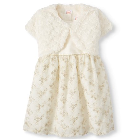Wonder Nation Baby Toddler Girl Christmas Holiday Embroidered Holiday Dress With -