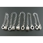 Pack of 5 Antique Silver Tone Safety Chains. Fits Troll, Biagi, Zable, Chamilia, And Pandora Style Charm Bracelets.