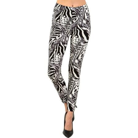 Women's Regular Grey Animal Skin Pattern Printed Leggings