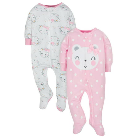 Baby Girl Keepsake (Gerber Organic Cotton Jersey Sleep N Play, 2pk (Baby Girls))