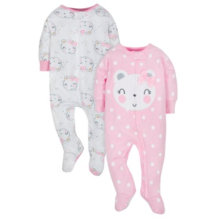Gerber Organic Cotton Jersey Sleep N Play, 2pk (Baby Girls)
