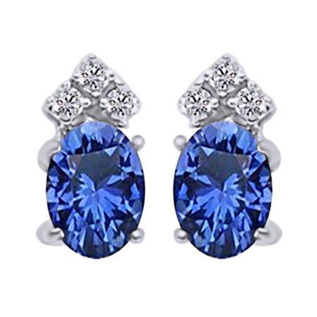 Oval Cut Simulated Blue Sapphire With Natural Diamond Stud Earrings In 14K Solid White - 14k Oval Screw