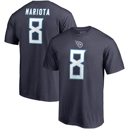 Marcus Mariota Tennessee Titans NFL Pro Line by Fanatics Branded Authentic Stack Name & Number T-Shirt - Navy