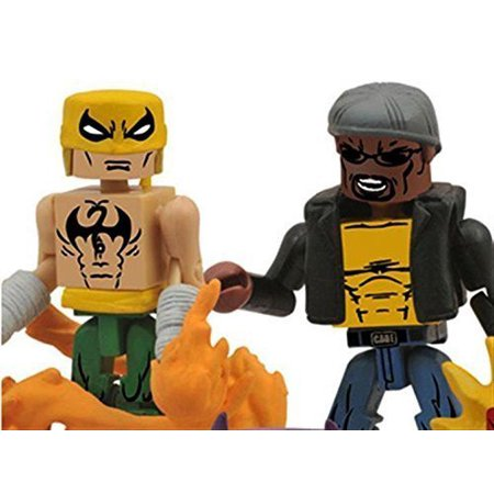 Marvel Minimates Best of Series 3 2 Inch Minifigure 2-Pack Luke Cage Power Man & Dragon Attack Iron Fist, Official Minimates By Diamond Select Ship from