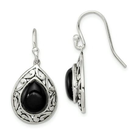 925 Sterling Silver Black Onyx Shepherd Hook Drop Dangle Chandelier Earrings Gifts For Women For Her