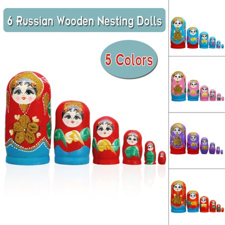 6 Pcs Russian Hand Painted Nesting Doll Matryoshka Stacking Toys Babushka Retro Style Dolls Collectable Wood Craft Kids Gift - Mattel Collectible Dolls