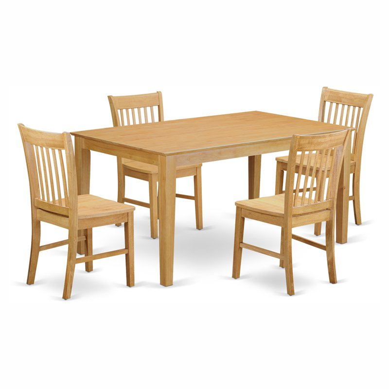 CANO5-OAK-W 5 Piece dining room for 4 set-- Dining room table and 4 Chairs