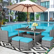Costway 7 PCS Patio Rattan Dining Set Sectional Sofa Couch Ottoman Navy