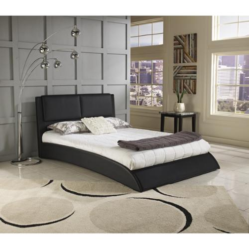 Sleep Sync Shoreline Black Faux Leather Uphostered Platform Bed Sleep Sync Shoreline QN Black Leather Platform Bed