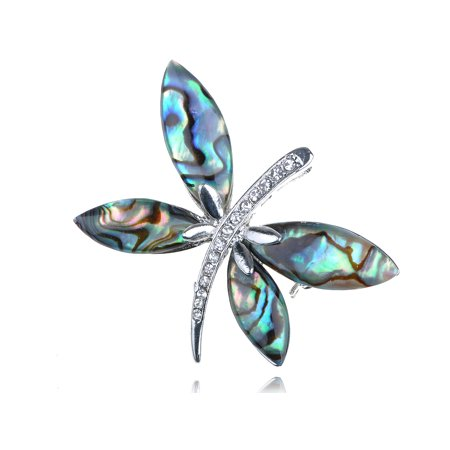 - Vintage Crystal Rhinestone Sea Abalone Shell Dragonfly Pin Brooch