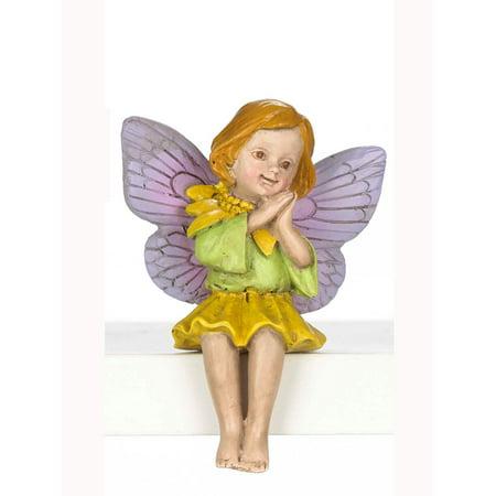 Yellow Dress Garden Fairy Girl Figurine With Butterfly Wings by Ganz Garden Fantasy