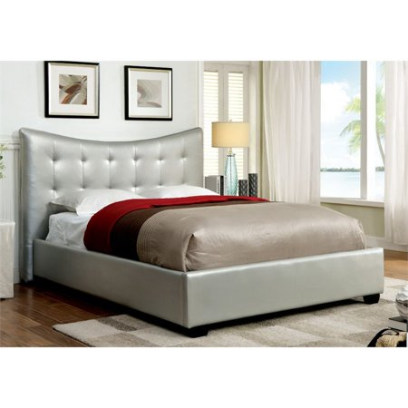 Furniture of America Salim King Tufted Leather Bed in Silver ()