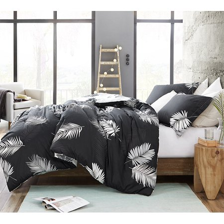 Palms - Faded Black and White - Oversized Comforter - 100% Cotton Bedding ()