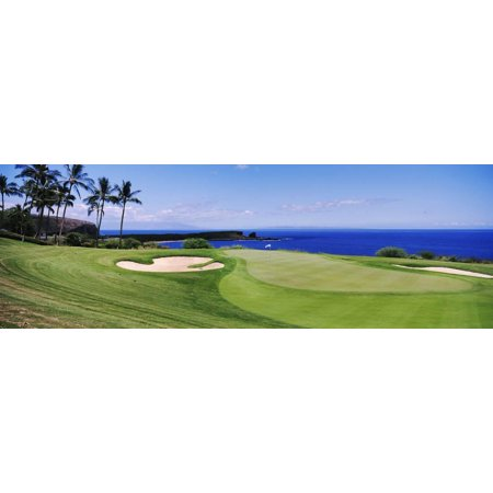 Golf Course at the Oceanside, the Manele Golf Course, Lanai City, Hawaii, USA Print Wall - Halloween City Oceanside