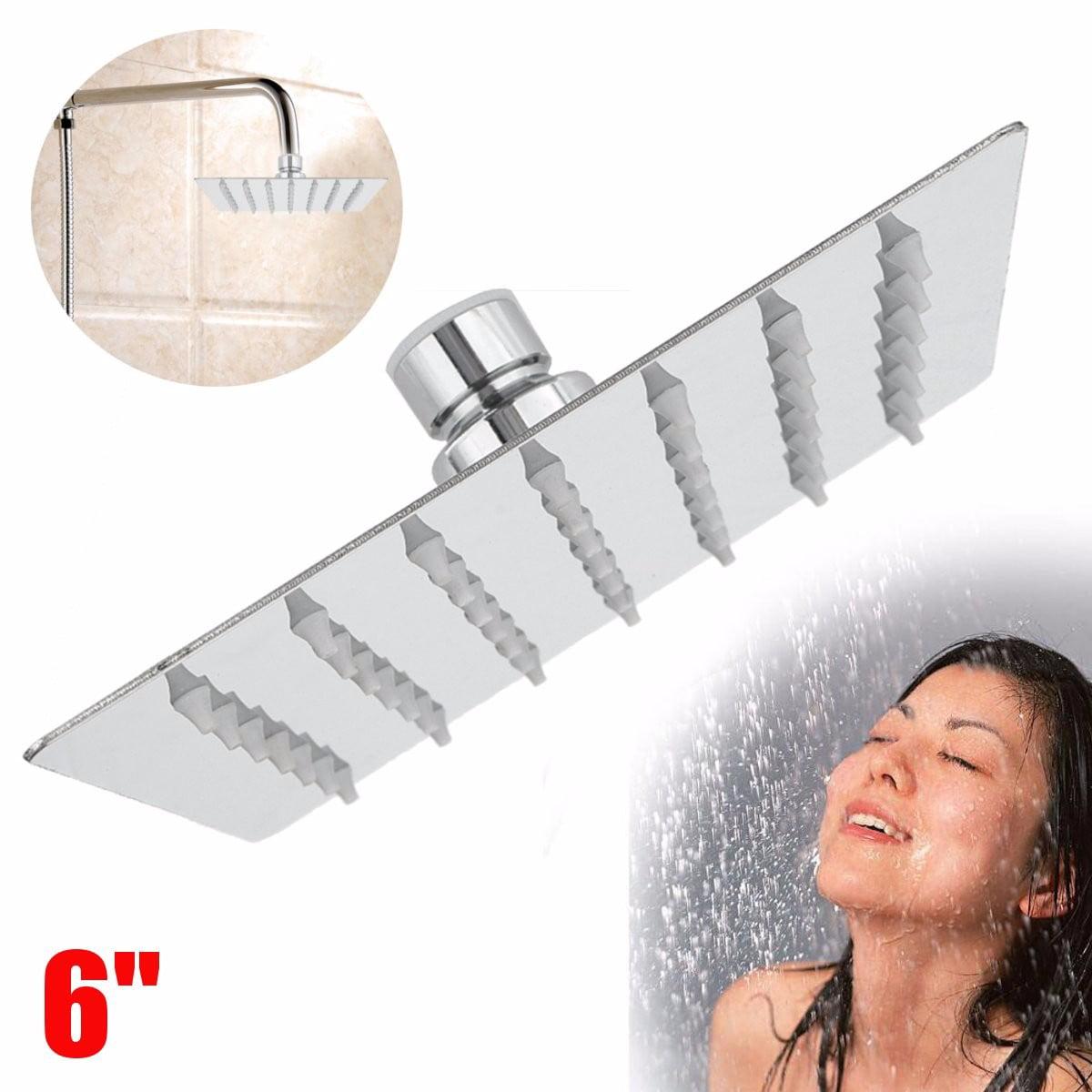 6'' 360° Square Stainless Steel Rain Shower Head Rainfall Bathroom Bathroom Accessories Top Sprayer