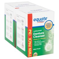 Equate Mint Fresh Antibacterial Denture Cleanser Tablets Twin Pack, 120 count, 2 pack