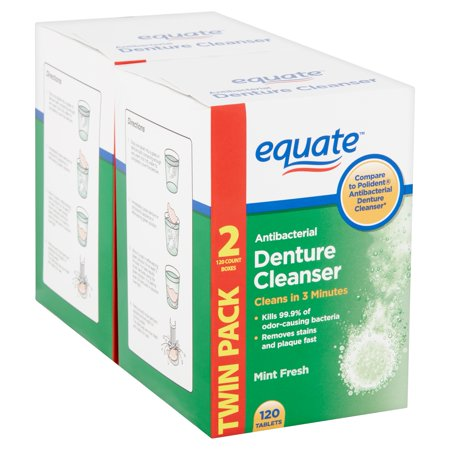 Denture Cleanser Powder ((2 pack) Equate Mint Fresh Antibacterial Denture Cleanser Tablets Twin Pack, 120 count, 2 pack)
