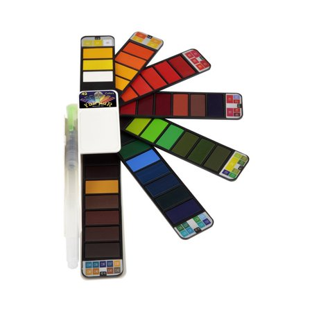 Fan-PAN Portable Watercolor Paint Set - 42 Assorted Colors Professional Artist Grade Foldable Travel Kit with Water Brush for Plein Air, Field & Outdoor Painting for Kids or Adults ()