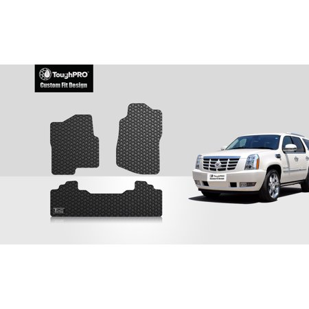 ToughPRO - CADILLAC Escalade ESV 1st & 2nd Row Mats - All Weather - Heavy Duty - Black Rubber -