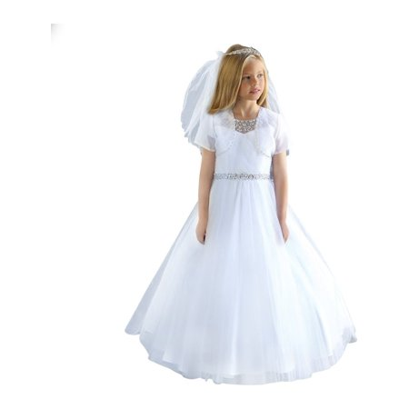 Angels Garment Girls White Detailed Beadwork Flower Girl Communion Dress - First Holy Communion Dress