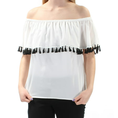 250a6519663cf9 INC - INC Womens White Fringed Overlay Sleeveless Off Shoulder Top ...