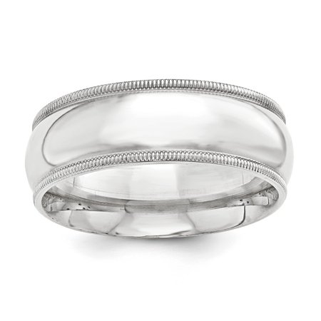 10mm Milgrain Comfort Fit Sterling Silver Wedding Band Size 4.5