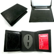 Leather Badge Holder Wallet Officer Sheild ID Police Sherif Fire Security Case !